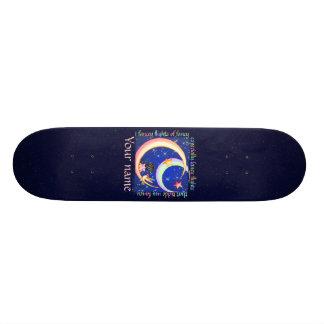 Tickled Fancy Pixel Art Faery Moon Skate Board