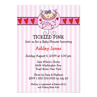 TICKLED PINK Bib Baby Girl Shower Invitations