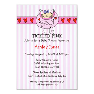 "TICKLED PINK Bib Baby Girl Shower Invitations 5"" X 7"" Invitation Card"