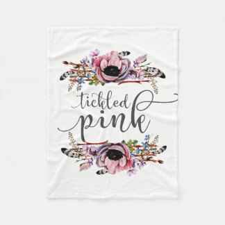 Tickled Pink | Boho Chic Floral Wreath Baby Girl Fleece Blanket