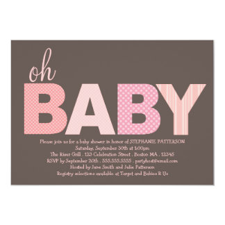 Tickled Pink Oh Baby Girl Modern Baby Shower Card