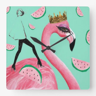 Tickled Pink & Teal Flamingo cute pop art clock