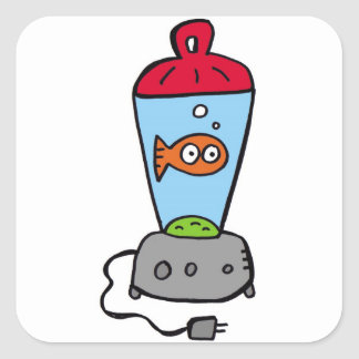 Tickles Goldfish in a blender Square Sticker