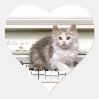 Tickling The Ivorys Kitten Heart Sticker