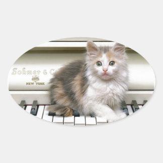 Tickling The Ivorys Kitten Oval Sticker
