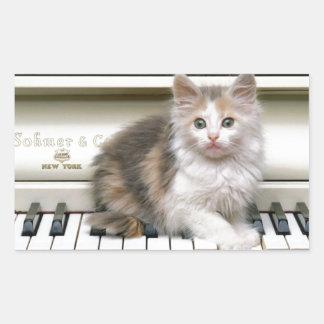 Tickling The Ivorys Kitten Rectangular Sticker