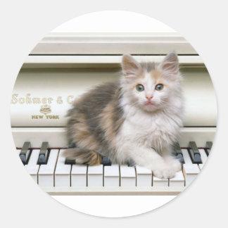 Tickling The Ivorys Kitten Round Sticker