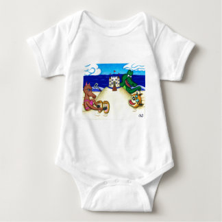 Ticklish Dingo Buried at the Beach Baby Bodysuit