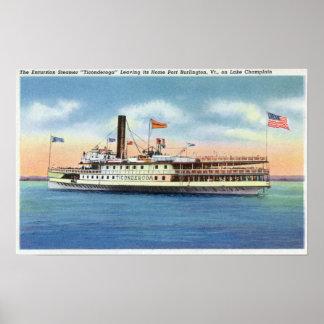 Ticonderoga Steamer Leaving Port Burlington, Posters