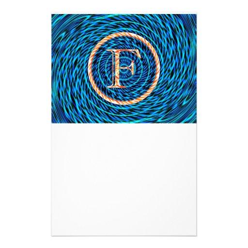 Tidal Spiral Blue Monogram F Customized Stationery