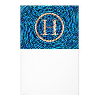 Tidal Spiral Blue Monogram H Custom Stationery