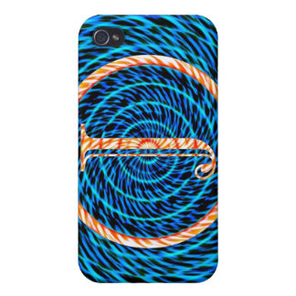 Tidal Spiral Blue Monogram J Covers For iPhone 4