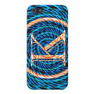 Tidal Spiral Blue Monogram K iPhone 5 Case