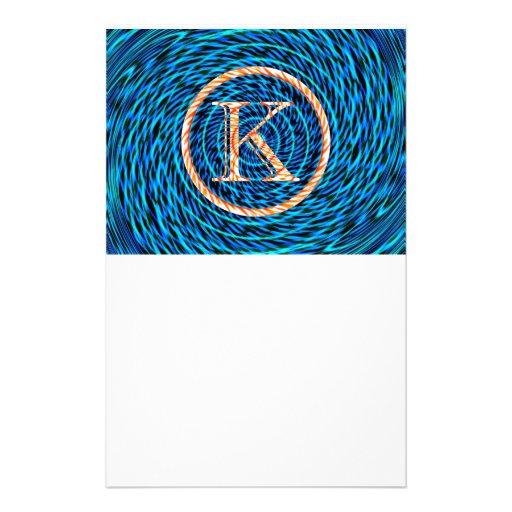 Tidal Spiral Blue Monogram K Stationery Design