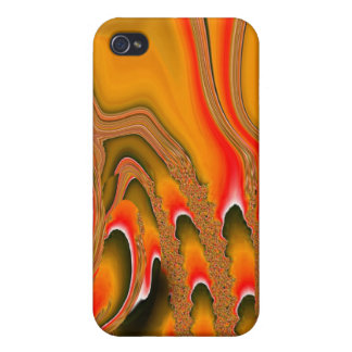 Tidal Wave iPhone 4 Skin irridescent gold red Cover For iPhone 4
