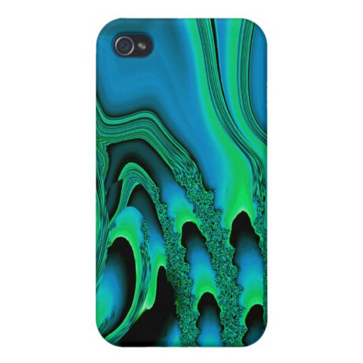 Tidal Wave iPhone 4 Skin (irridescent teal/green) iPhone 4/4S Cover