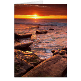 Tide pools at sunset, California Card