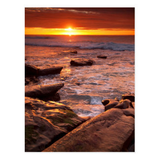 Tide pools at sunset, California Postcard