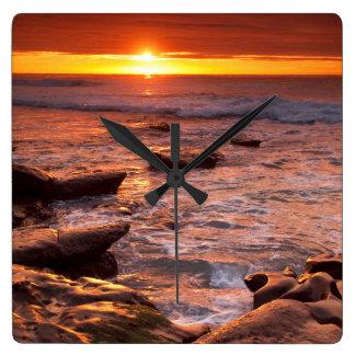 Tide pools at sunset, California Square Wall Clock