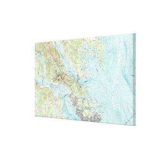 Tidewater Virginia Map (1984) Canvas Print