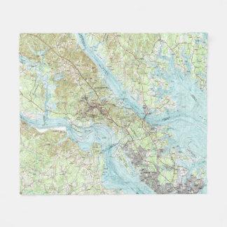 Tidewater Virginia Map (1984) Fleece Blanket