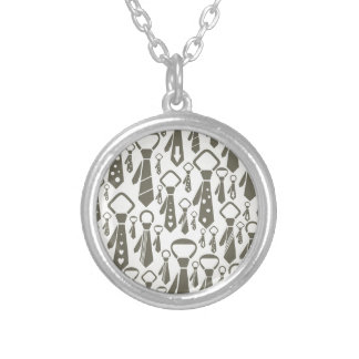 Tie a background silver plated necklace