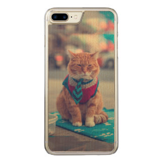 Tie Beige Cat Sitting Begging Carved iPhone 8 Plus/7 Plus Case