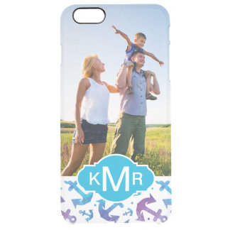 Tie Dye Anchor Pattern | Your Photo & Monogram Clear iPhone 6 Plus Case