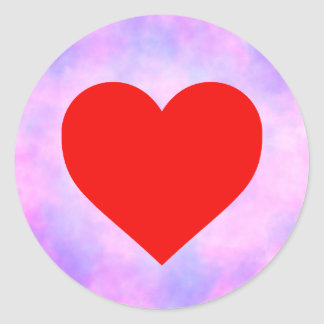 Tie-dye circle with red heart round sticker