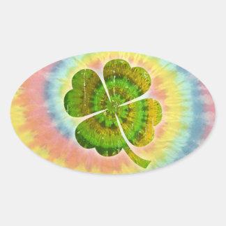 Tie Dye Clover Oval Sticker