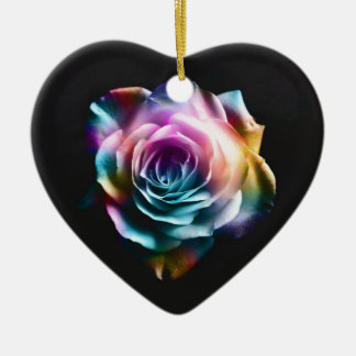Tie Dye Colorful Rose Ceramic Heart Decoration