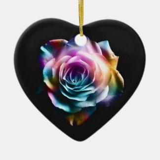 Tie Dye Colorful Rose Ceramic Ornament