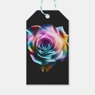 Tie Dye Colorful Rose Gift Tags
