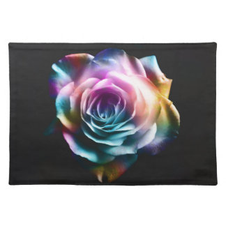 Tie Dye Colorful Rose Placemat
