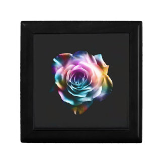 Tie Dye Colorful Rose Small Square Gift Box