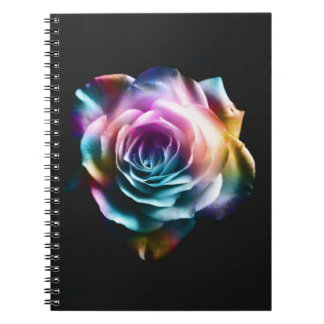 Tie Dye Colorful Rose Spiral Notebook