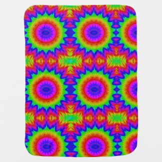Tie dye design 70's retro art rainbow peace 1 baby blanket