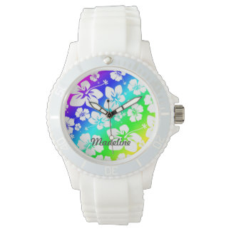 Tie Dye Hisbiscus Watch with name CUSTOMIZABLE