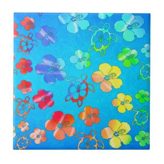 Tie Dye Honu And Hibiscus Ceramic Tile