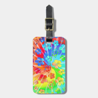 Tie Dye Honu And Hibiscus Luggage Tag