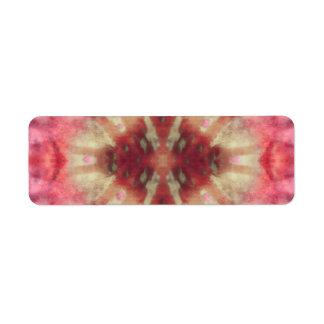 Tie Dye Maroon Radial Rays Spot Pattern Return Address Label