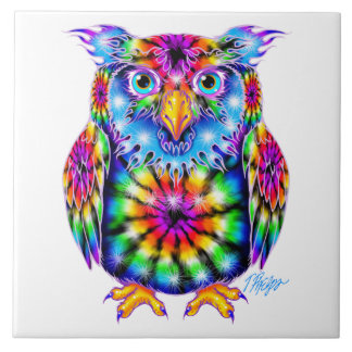 Tie Dye Owl Tile