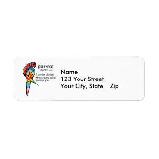 Tie Dye Parrot Definition Return Address Label
