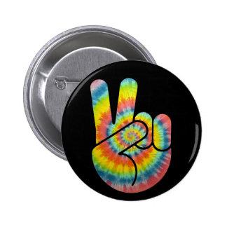 Tie Dye Peace Hand 6 Cm Round Badge