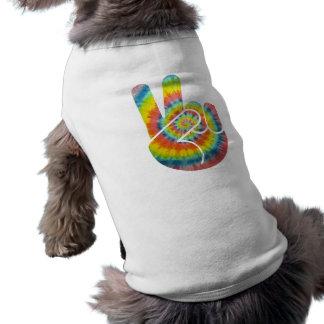 Tie Dye Peace Hand Doggie Tee Shirt