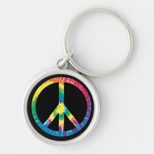 Tie Dye Peace Sign 2 Silver-Colored Round Key Ring