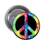 Tie Dye Peace Sign button