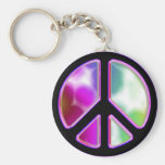 Tie Dye Peace Sign Designs Basic Round Button Key Ring