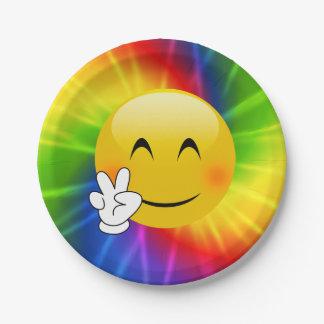 Tie-Dye Peace Sign Emoji 7 Inch Paper Plate