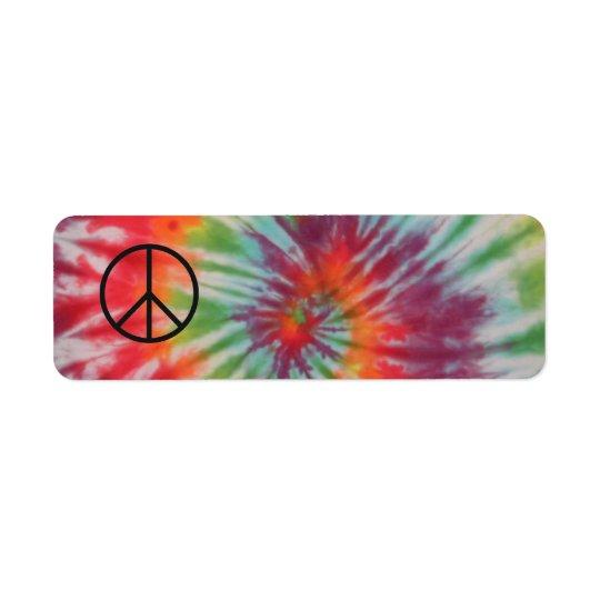 Tie Dye Peace Sign Label